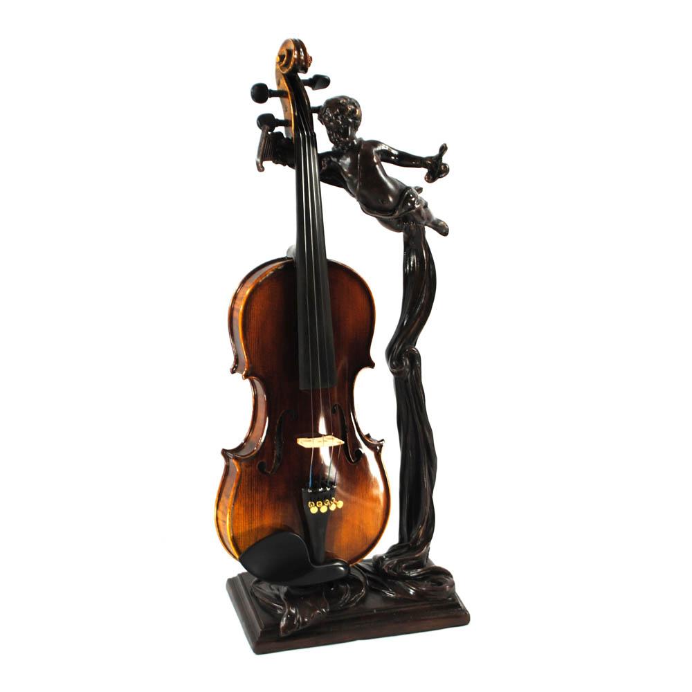 World Artisan Violin Stand – Greek Harpist – Aged Bronze