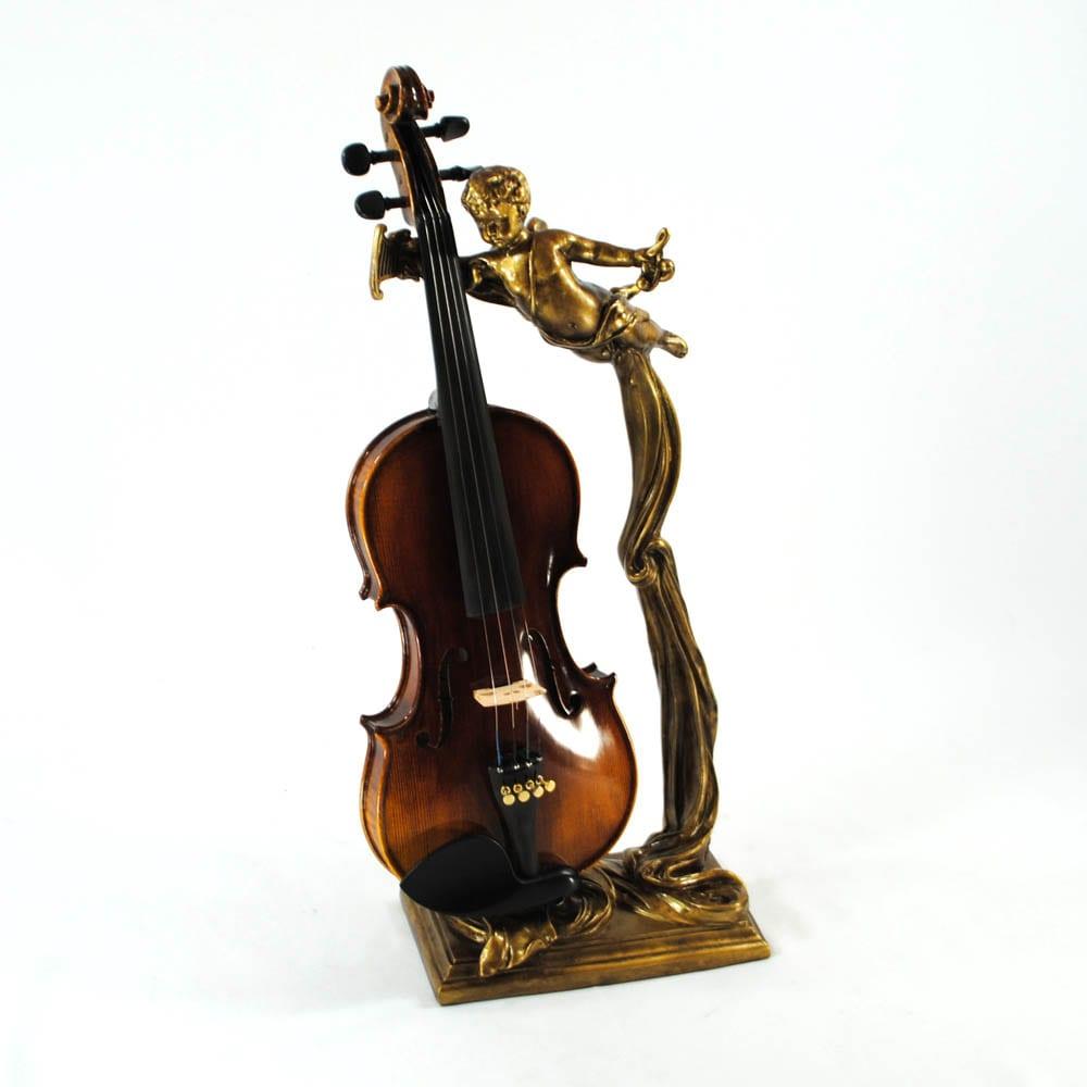 World Artisan Violin Stand – Greek Harpist – Aged Gold